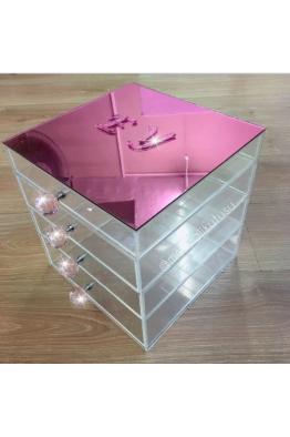 Makyajj Kutusu Orta Boy 4 Çekmeceli Üzeri Ayna Kaplı Makyaj Kutusu