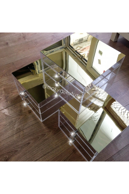 Makyajj Kutusu Orta Boy 3 Çekmeceli Üzeri Ayna Kaplı Makyaj Kutusu