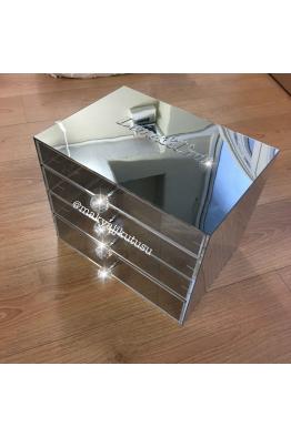 Makyajj Kutusu Büyük Boy 4 Çekmeceli Gövde Ayna Kaplı Makyaj Kutusu