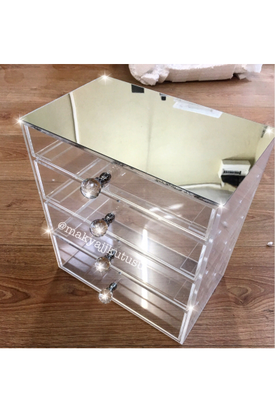Küçük Boy 4 Çekmeceli Üzeri Ayna Kaplı Makyaj Kutusu Küçük Boy 4 Çekmeceli Üzeri Ayna Kaplı Makyaj Kutusu