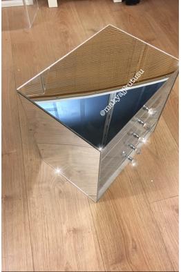 Makyajj Kutusu Büyük Boy 5 Çekmeceli Gövde Ayna Kaplı Makyaj Kutusu