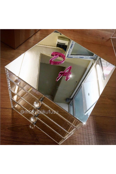 Orta Boy 4 Çekmeceli Üzeri Ayna Kaplı Makyaj Kutusu Orta Boy 4 Çekmeceli Üzeri Ayna Kaplı Makyaj Kutusu