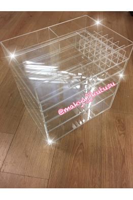 Makyajj Kutusu Büyük Boy 4 Çekmeceli Kulpsuz+3 Gözlü Fırçalık+ Rujluklu Kutu
