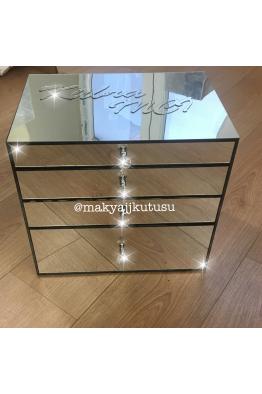 Makyajj Kutusu Büyük Boy 4 Çekmeceli Tamamı Ayna Kaplı Makyaj Kutusu