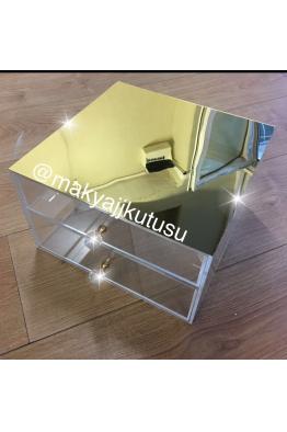 Makyajj Kutusu Orta Boy 2 Çekmeceli Üzeri Aynalı Kutu