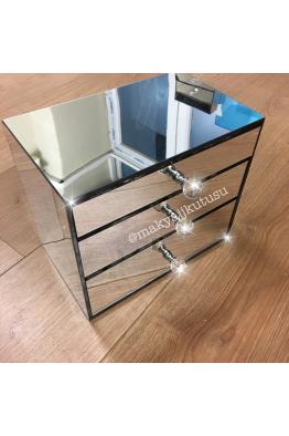 Makyajj Kutusu Küçük Boy 3 Çekmeceli Tamamı Ayna Kaplı Makyaj Kutusu