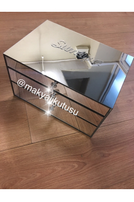 Makyajj Kutusu Büyük Boy 3 Çekmeceli Tamamı Ayna Kaplı Makyaj Kutusu