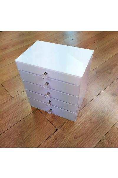 Beyaz Büyük Boy 5 Çekmeceli Makyaj Kutusu Beyaz Büyük Boy 5 Çekmeceli Makyaj Kutusu