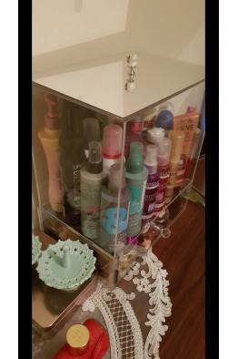 Makyajj Kutusu Üzeri Aynalı Kapaklı+Çekmeceli Kutu