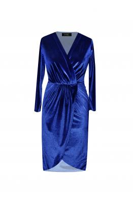 H6 By Hazal Ozman Mate Lacivert Kadife Elbise
