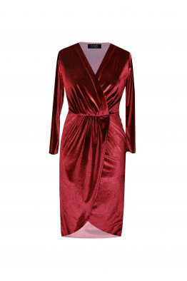 H6 By Hazal Ozman Mate Kırmızı Kadife Elbise