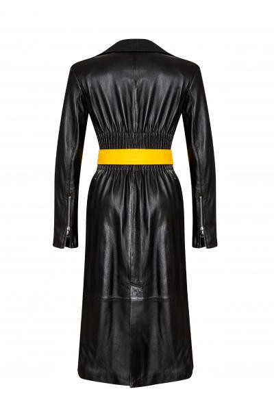 Marlon Siyah Deri Palto