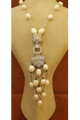 Miss Istanbul Bijoux LONG PEARL PANTHER