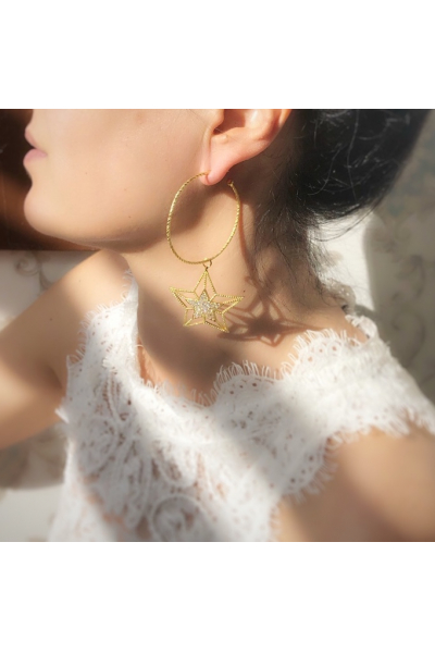 You Are A Star Gümüş Halka Küpe  You Are A Star Gümüş Halka Küpe
