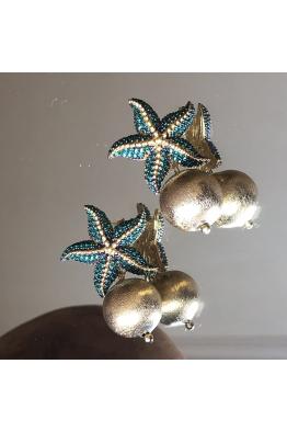 POISON BY KIRAMER Starfish Toplu Küpe  -Zümrüt-