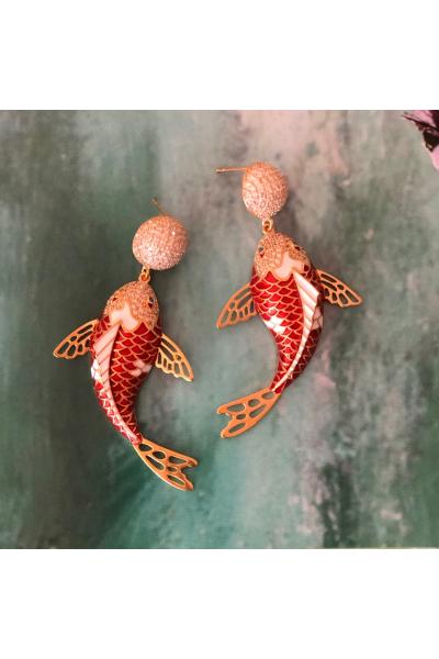 Koi Fish Küpe  -Narçiçeği-  Koi Fish Küpe  -Narçiçeği-