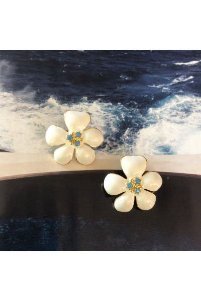 POISON BY KIRAMER Blossom Küpe  - Beyaz-