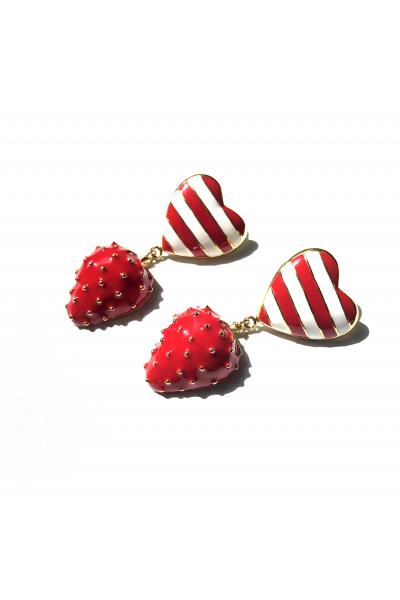 Strawberry Heart Button  Strawberry Heart Button