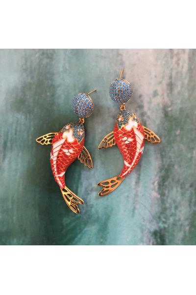 POISON BY KIRAMER Koi Fish Küpe  -Nar Çiçeği-