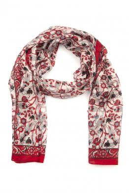 Miss Whitesmith Çiçek Desenli İpek Kırmızı Şal