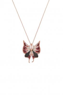 Miss Whitesmith Kırmızı Mineli Küçük Kelebek Kolye