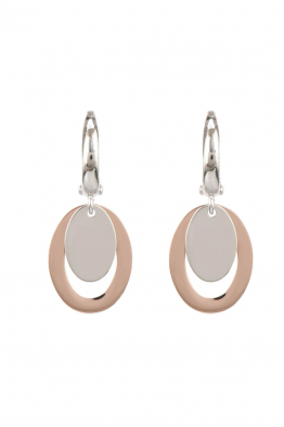 Miss Whitesmith Gümüş İki Renkli Oval Küpe