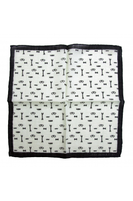 The Black Ears The Gentleman Tools - White  Wool Pocket Square