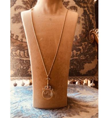 Jour Du Nil Gerçek Büyüteç Beyaz Crystal Gümüş Zincir Kolye