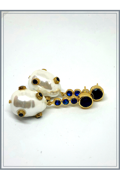 Barok Pearl Navy Blue Earing With Navy Blue Stone