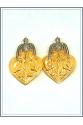 Otantik Kuşlu Küpe Gold - Beyaz