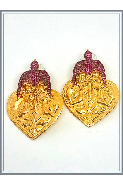 Jour Du Nil Otantik Kuşlu Küpe Gold - Ruby