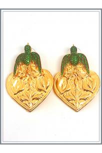 Otantik Kuşlu Küpe Gold - Green
