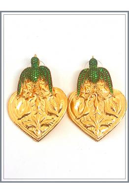 Jour Du Nil Otantik Kuşlu Küpe Gold - Green