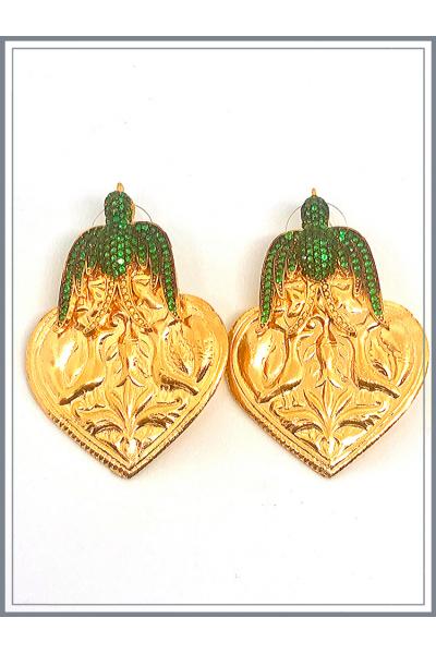 Otantik Kuşlu Küpe Gold - Green Otantik Kuşlu Küpe Gold - Green