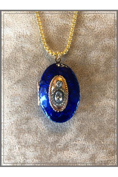 Vintage 22k Altın Kaplama Kobalt Mavi El İşi Mine Zincir Kolye