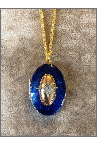 Vintage 22k Altın Kaplama Kobalt Mavi El İşi Mine Zincir Kolye Vintage 22k Altın Kaplama Kobalt Mavi El İşi Mine Zincir Kolye