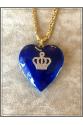 Vintage Büyük Kalp 22k Altın Kaplama Kobalt Mavi El İşi Mine Zincir Kolye