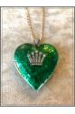 Vintage Büyük Kalp 22k Altın Kaplama Kobalt Yeşil El İşi Mine Zincir Kolye
