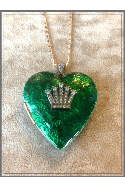 Jour Du Nil Vintage Büyük Kalp 22k Altın Kaplama Kobalt Yeşil El İşi Mine Zincir Kolye