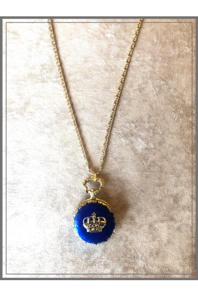 Vintage Köstek Kobalt Mavi El İşi Mine Zincir Kolye