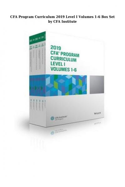 CFA program curriculum 2019 level 1 Volume 1-6