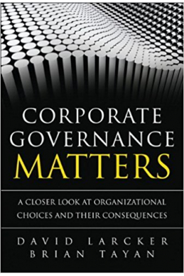 Bookstore corporate governance matters (larcker, tayan)