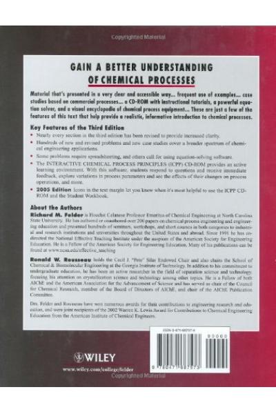 Elementary Principles of Chemical Processes 3rd (Richard M. Felder, Ronald W. Rousseau)
