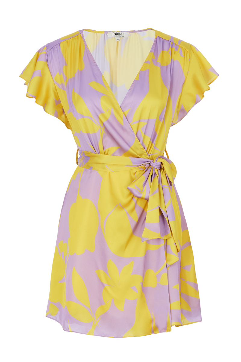 PRINT SATIN DRESS - sarı desenli