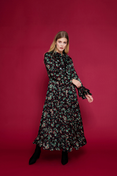 Floral Detailed Ruffle Trimmed Maxi Dress