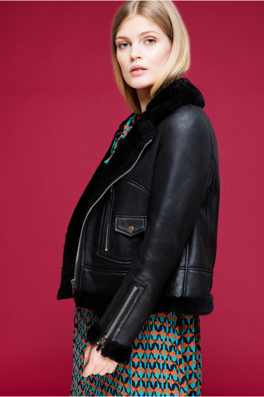 Shearling Detailed Leather Jacket (Black)