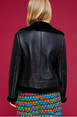 MERGIM Shearling Detailed Leather Jacket (Black)