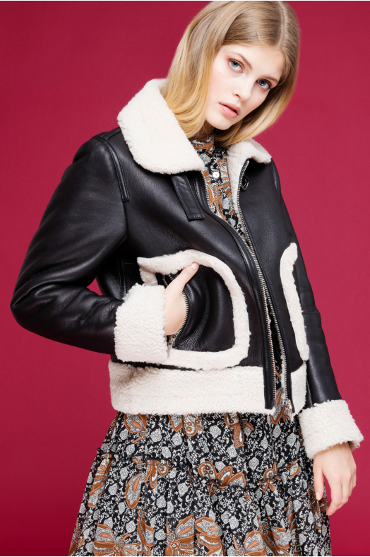 Bomber Shearling Jacket (Black)