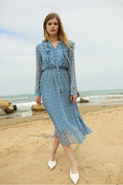 Polka Dot Blue Midi Dress