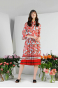 Red Floral Detailed Midi Dress